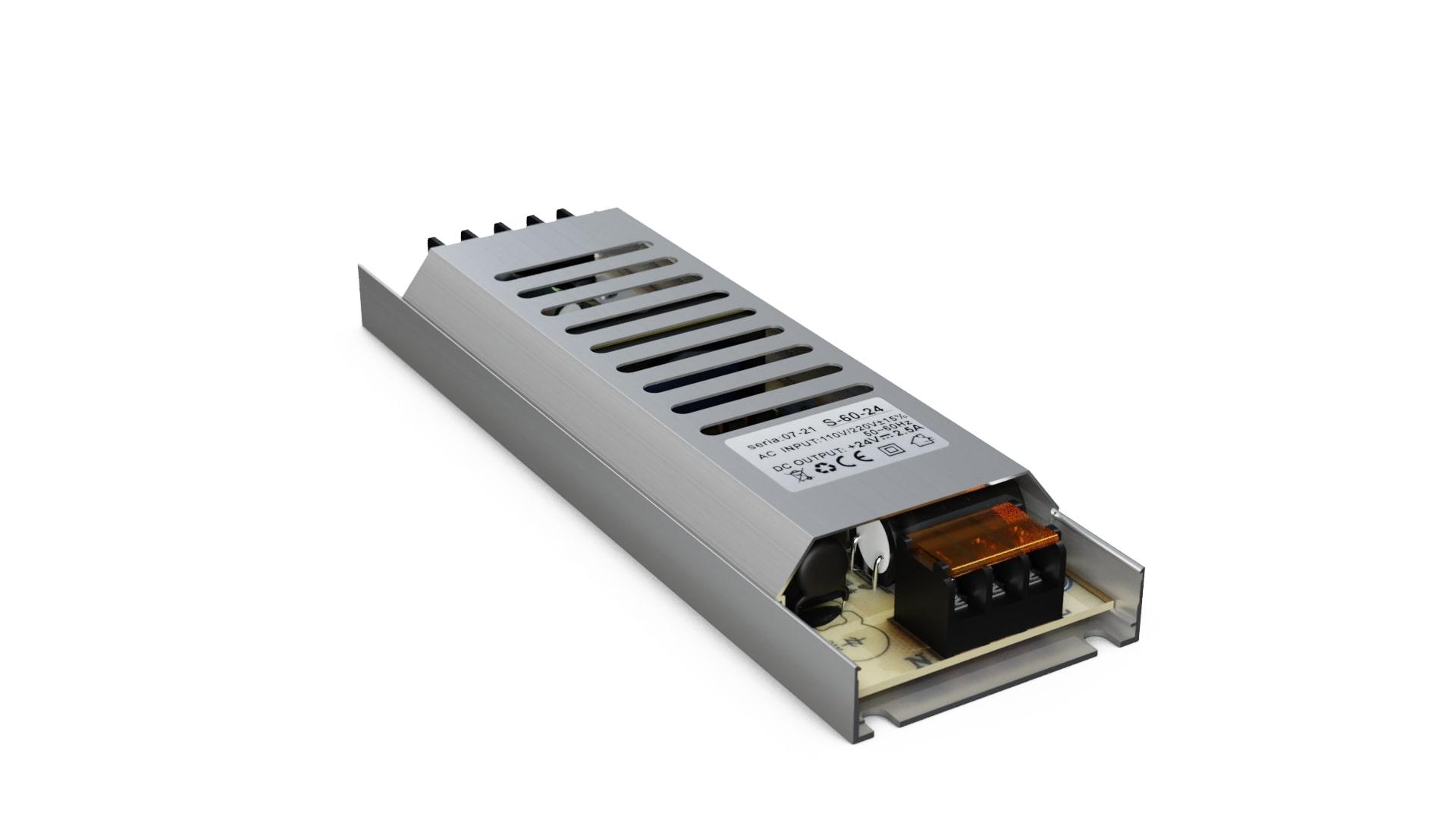 Moduł zasilacza montażowy 24V 60W IP20 SLIM