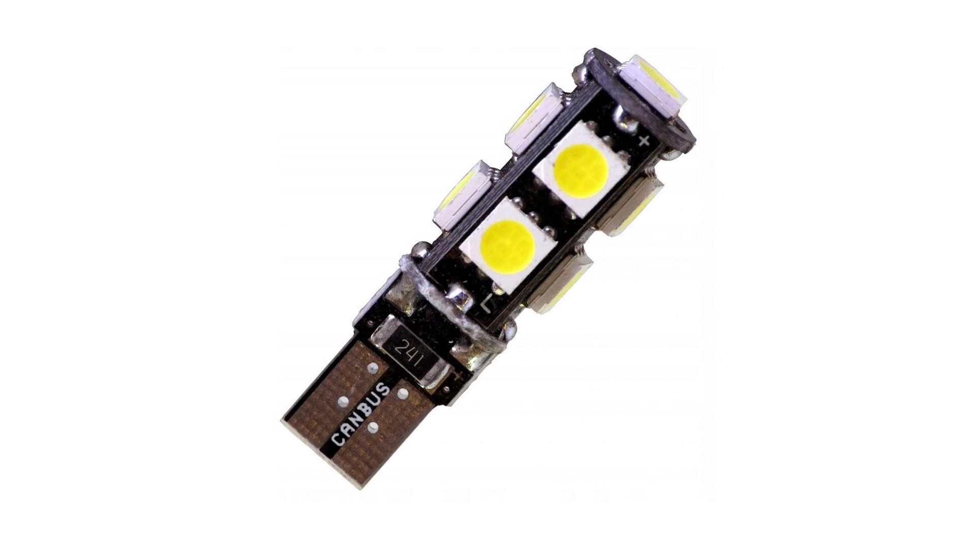 Dioda LED W5W 9x5050 SMD 12V DC Biała Zimna CANBUS