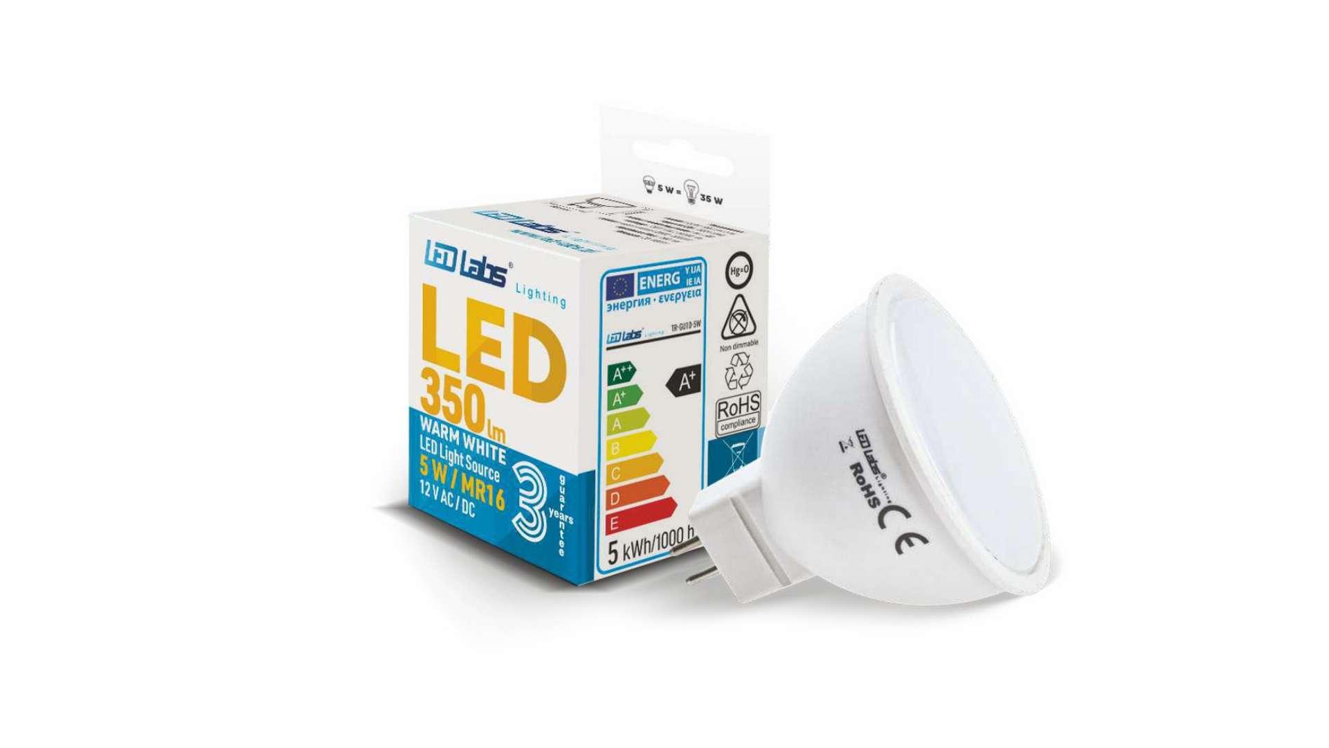 Źródło LED MR16 5W Biała Ciepła 12V AC/DC