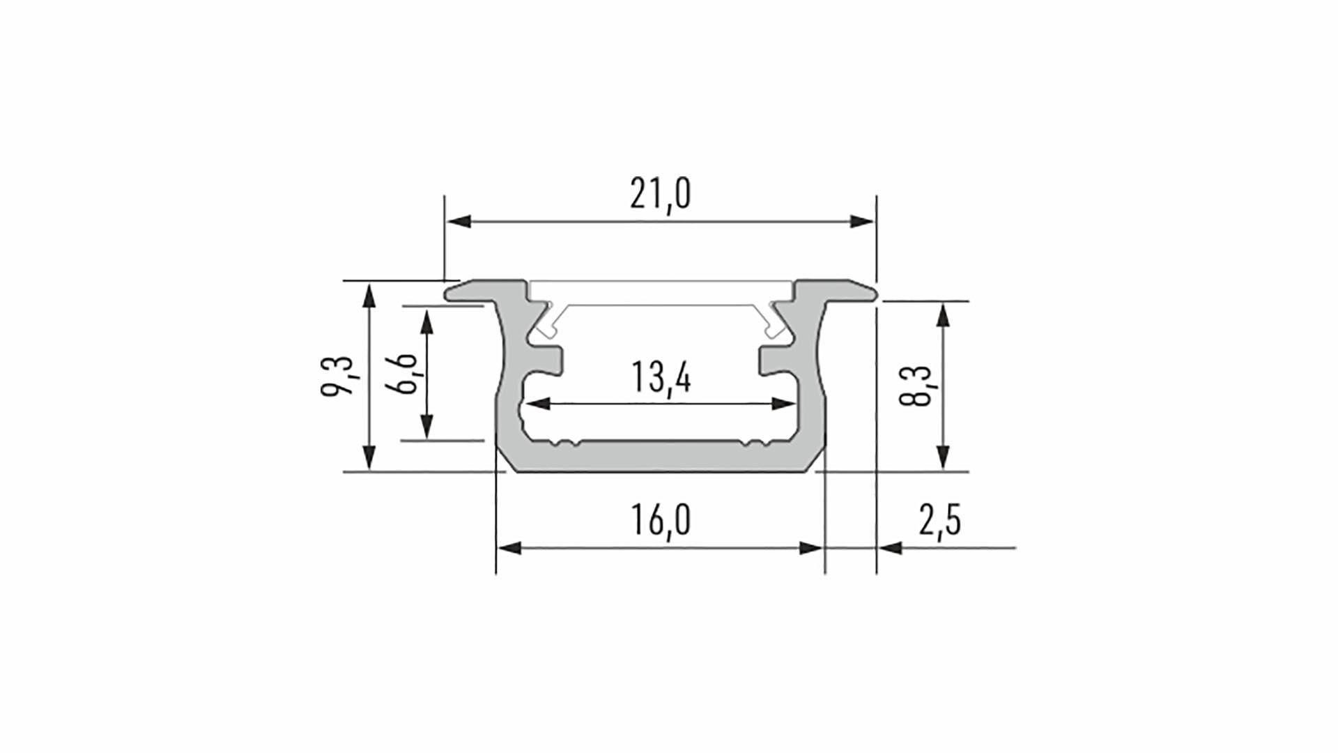 Profil LUMINES typ B srebrny anod. 2,02 m