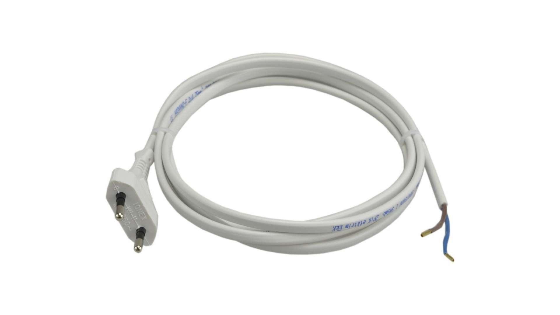 Przewód biały 2x0,75mm 230V 1,8m + wtyczka