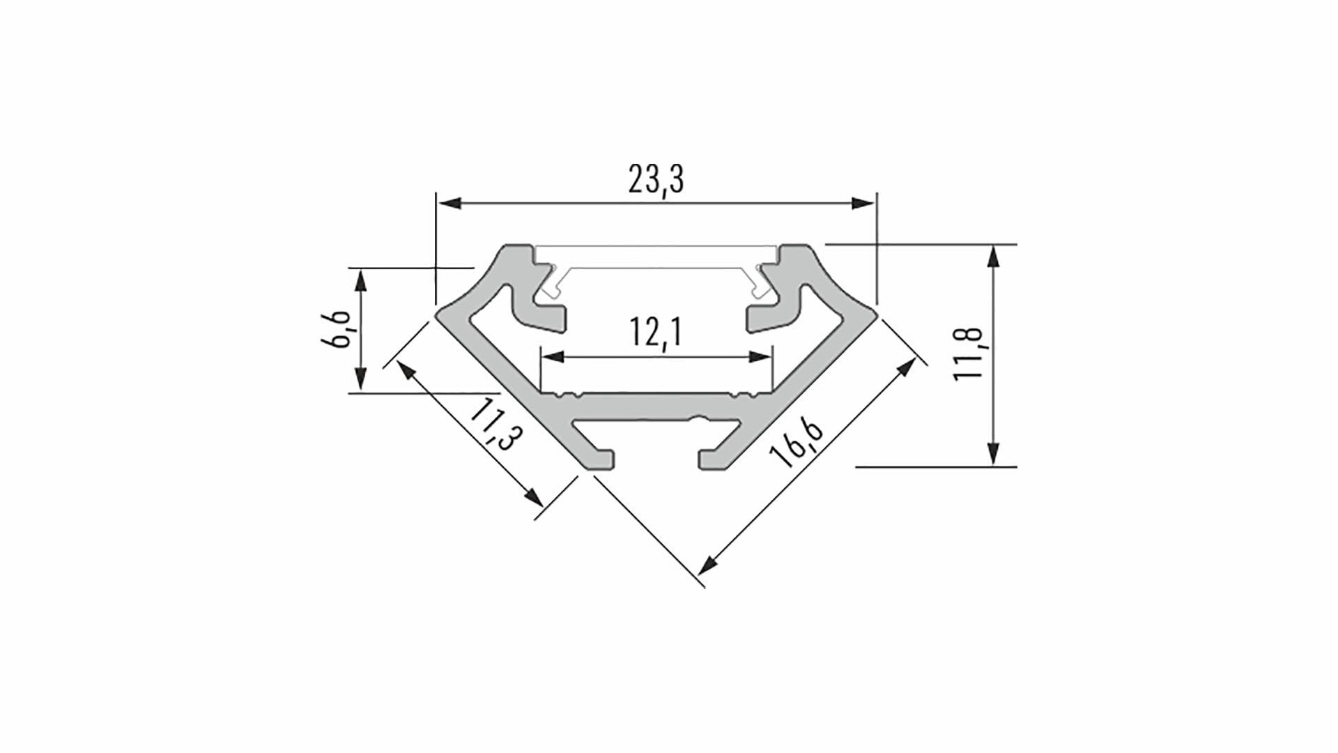 Profil LUMINES typ C srebrny anod. 2,02 m