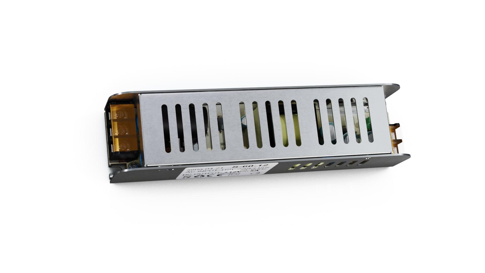 Moduł zasilacza montażowy 12V 60W IP20 SLIM
