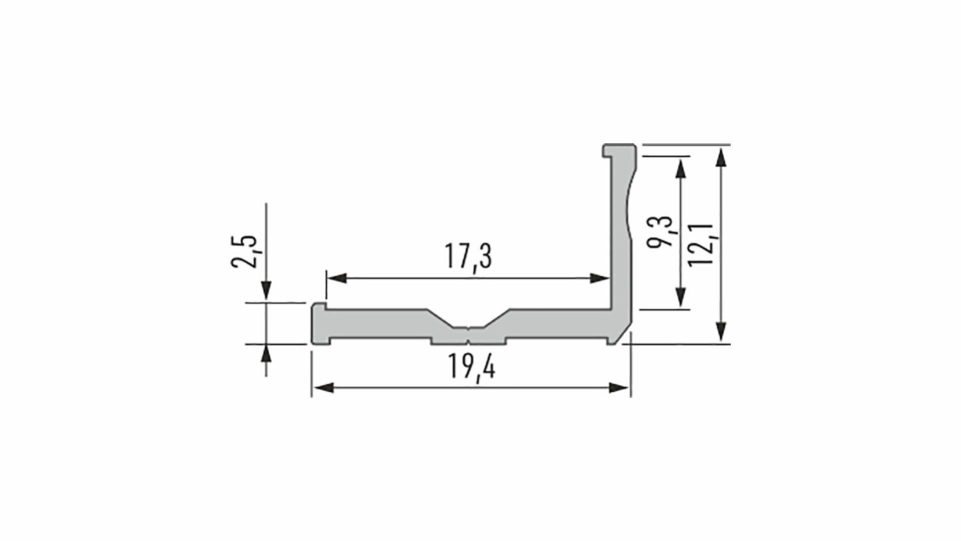 Profil LUMINES typ E surowy. 1 m