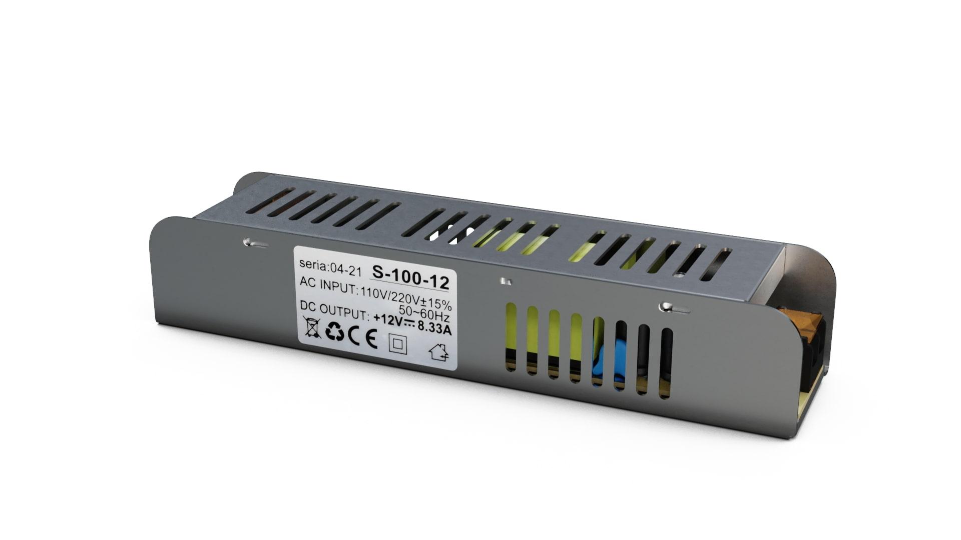 Moduł zasilacza montażowy 12V 100W IP20 SLIM