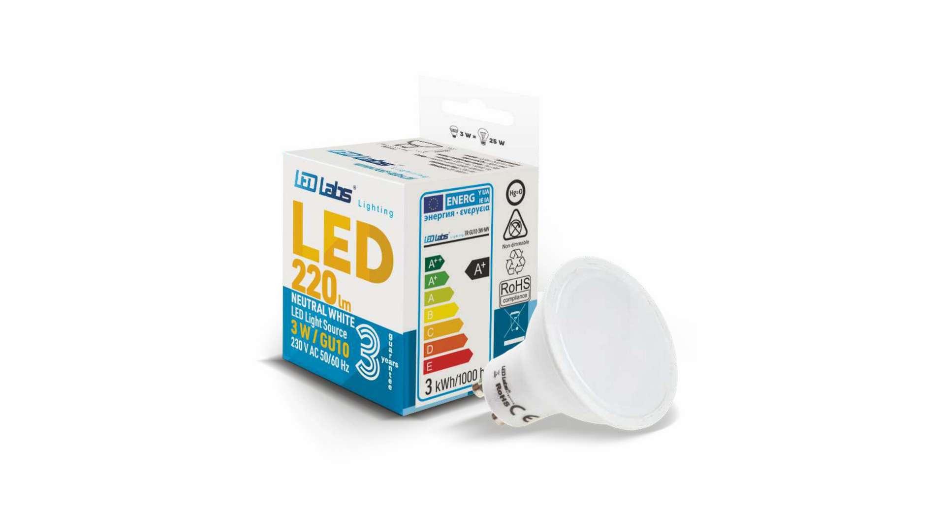 Źródło LED GU10 3W Biała Ciepła