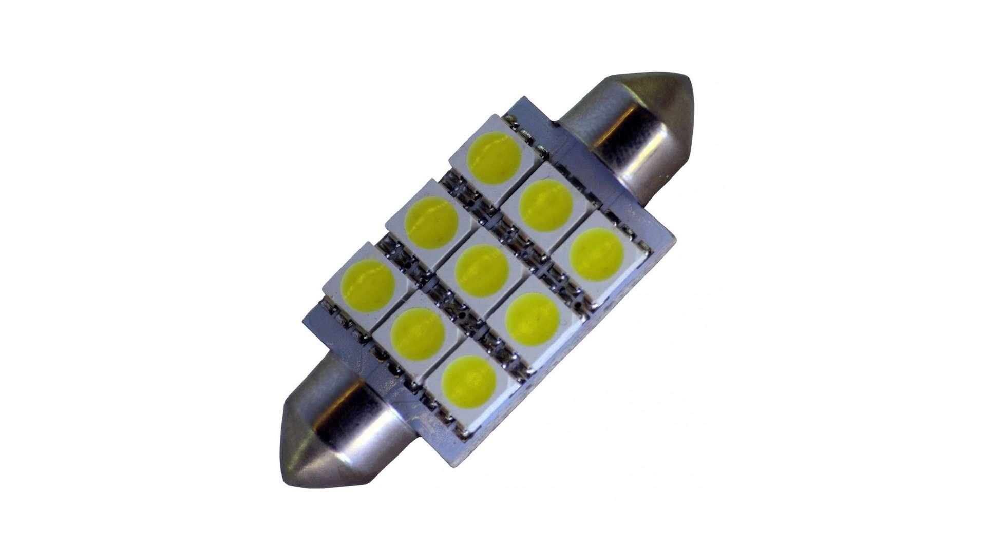 Dioda LED C10W 9x5050 SMD 12V DC B. Zimna