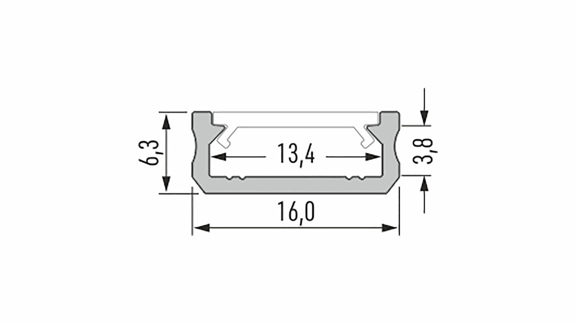 Profil LUMINES typ D surowy 1 m
