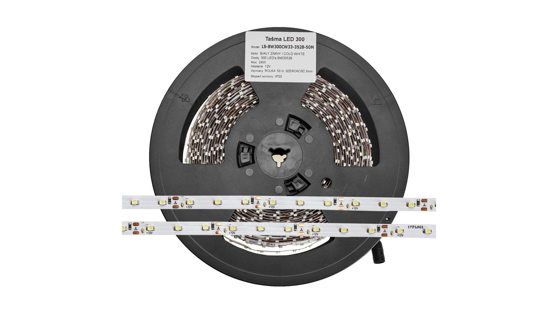 Taśma 300 LED 60 LED/m 2835 SMD CW IP65 - 25m