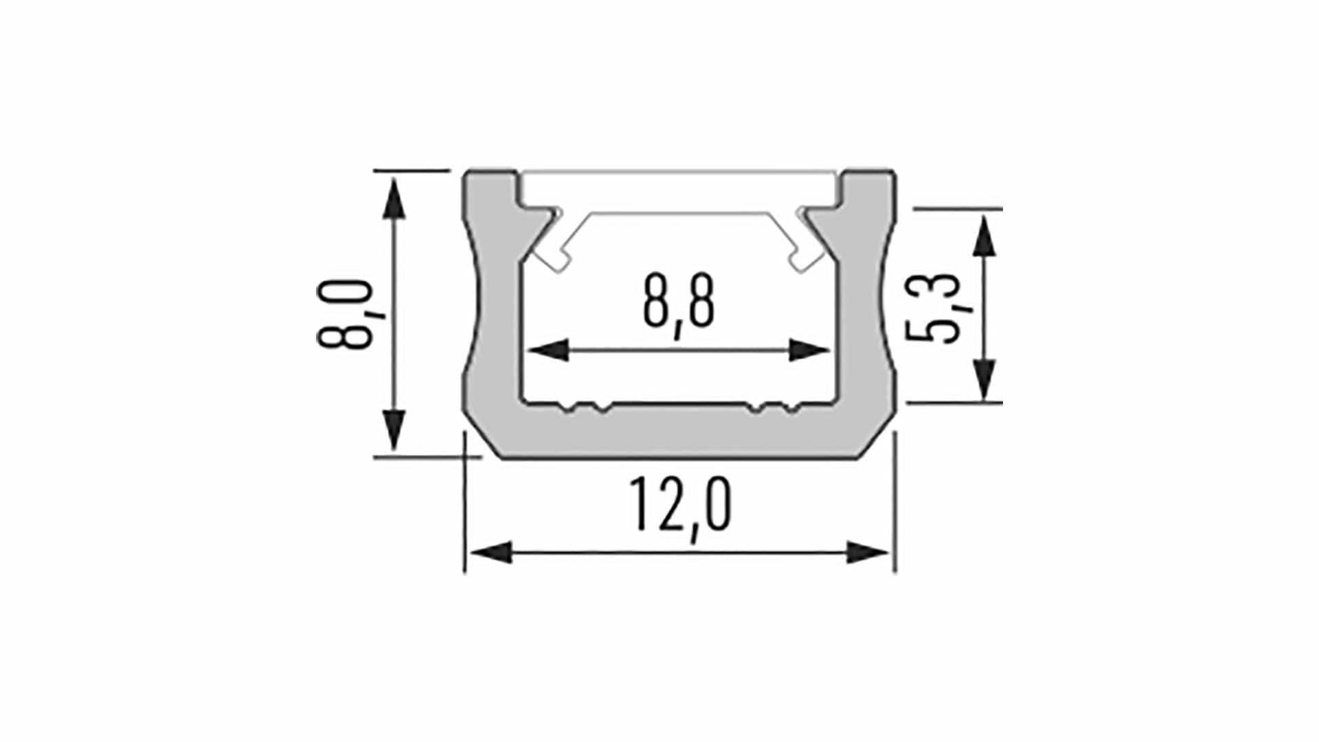 Profil LUMINES typ X surowy 1 m