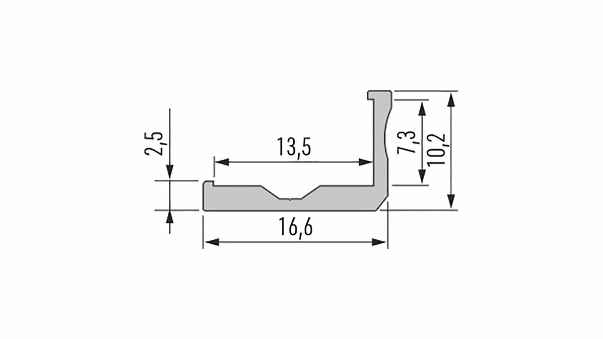 Profil LUMINES typ F surowy 1 m
