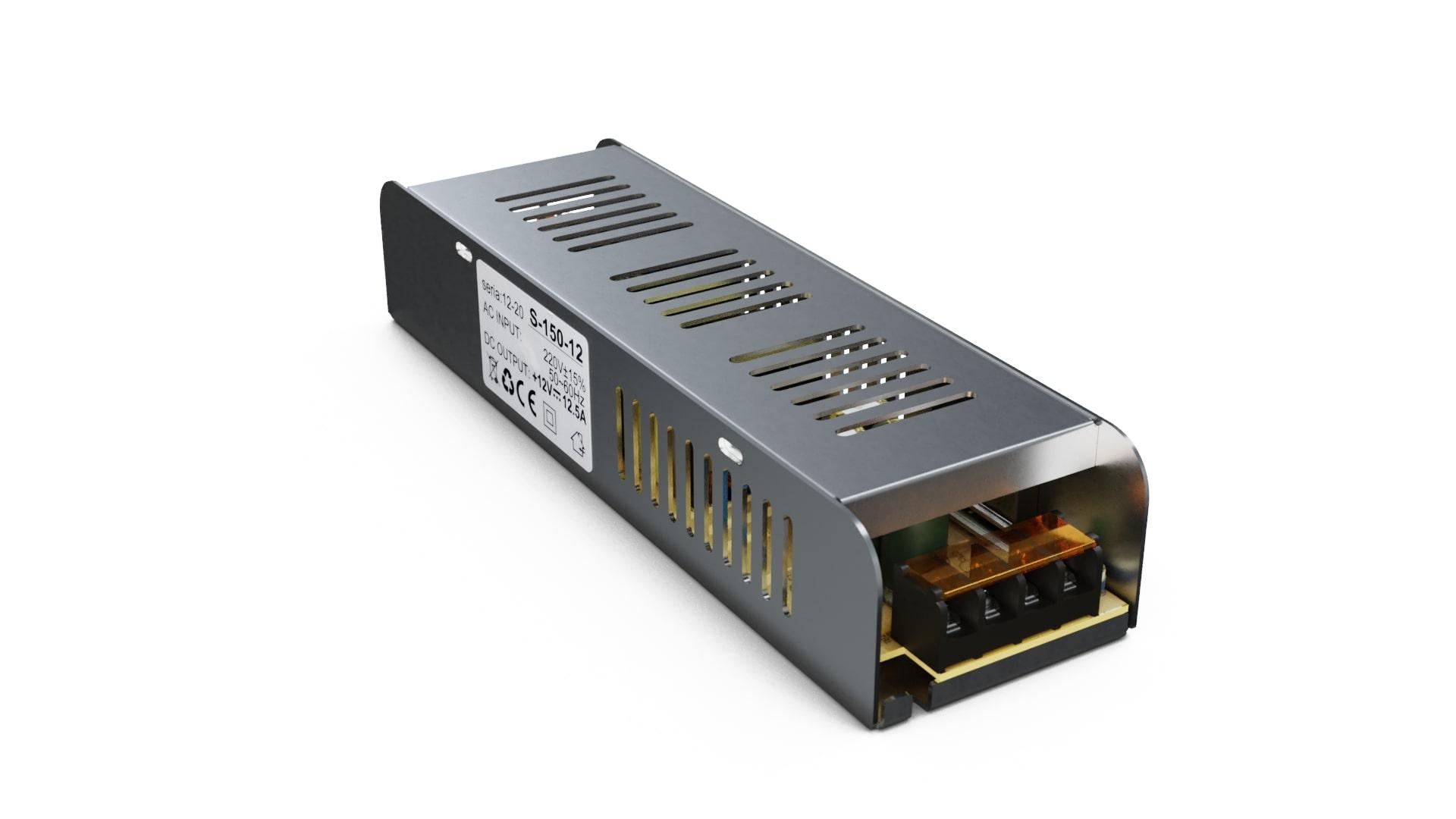 Moduł zasilacza montażowy 12V 150W IP20 SLIM