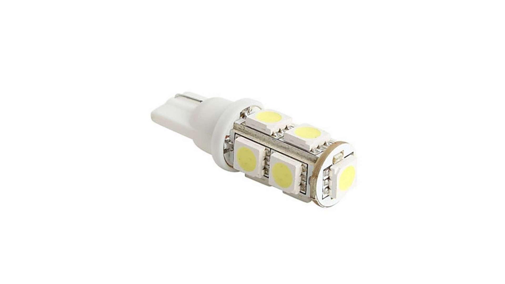 Dioda LED W5W 9x5050 SMD 12V DC Biała Zimna