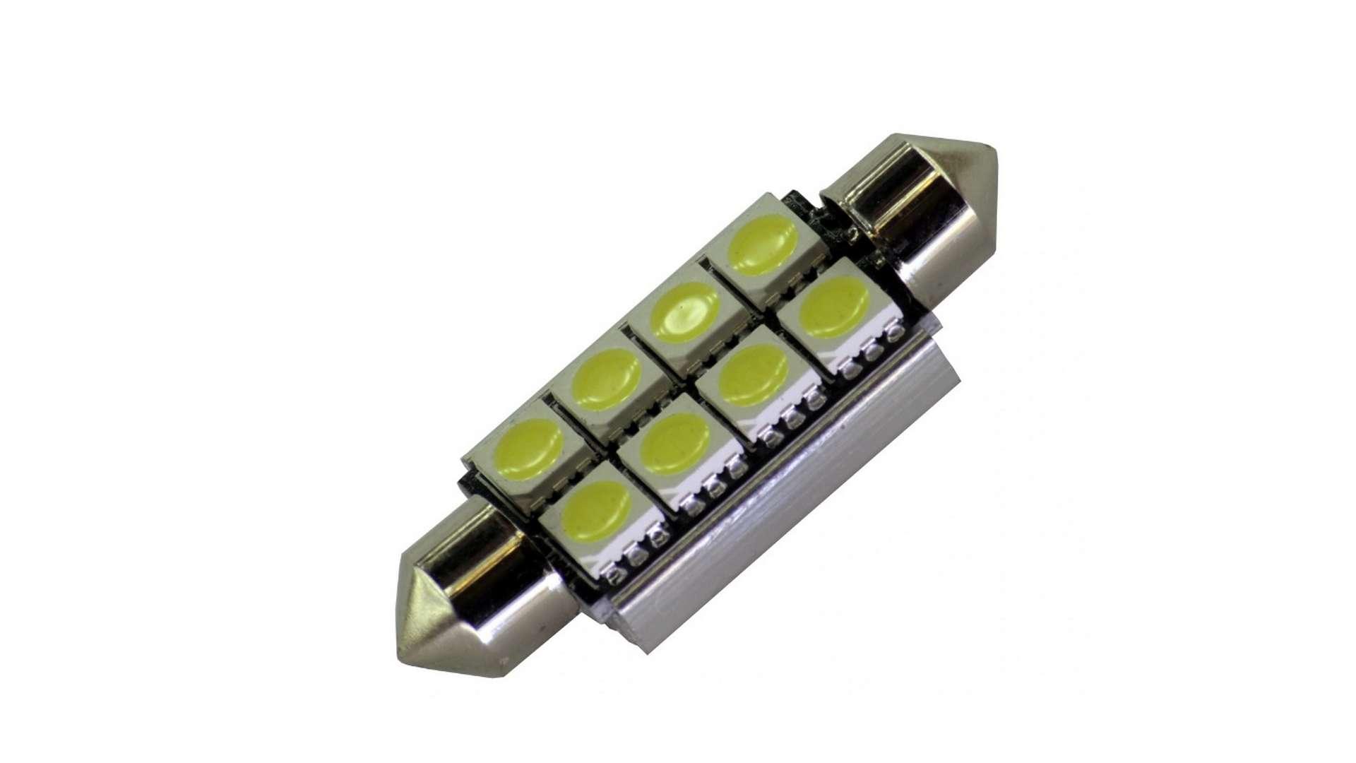 Dioda LED C10W 8x5050 SMD 12V DC B. Zimna CANBUS