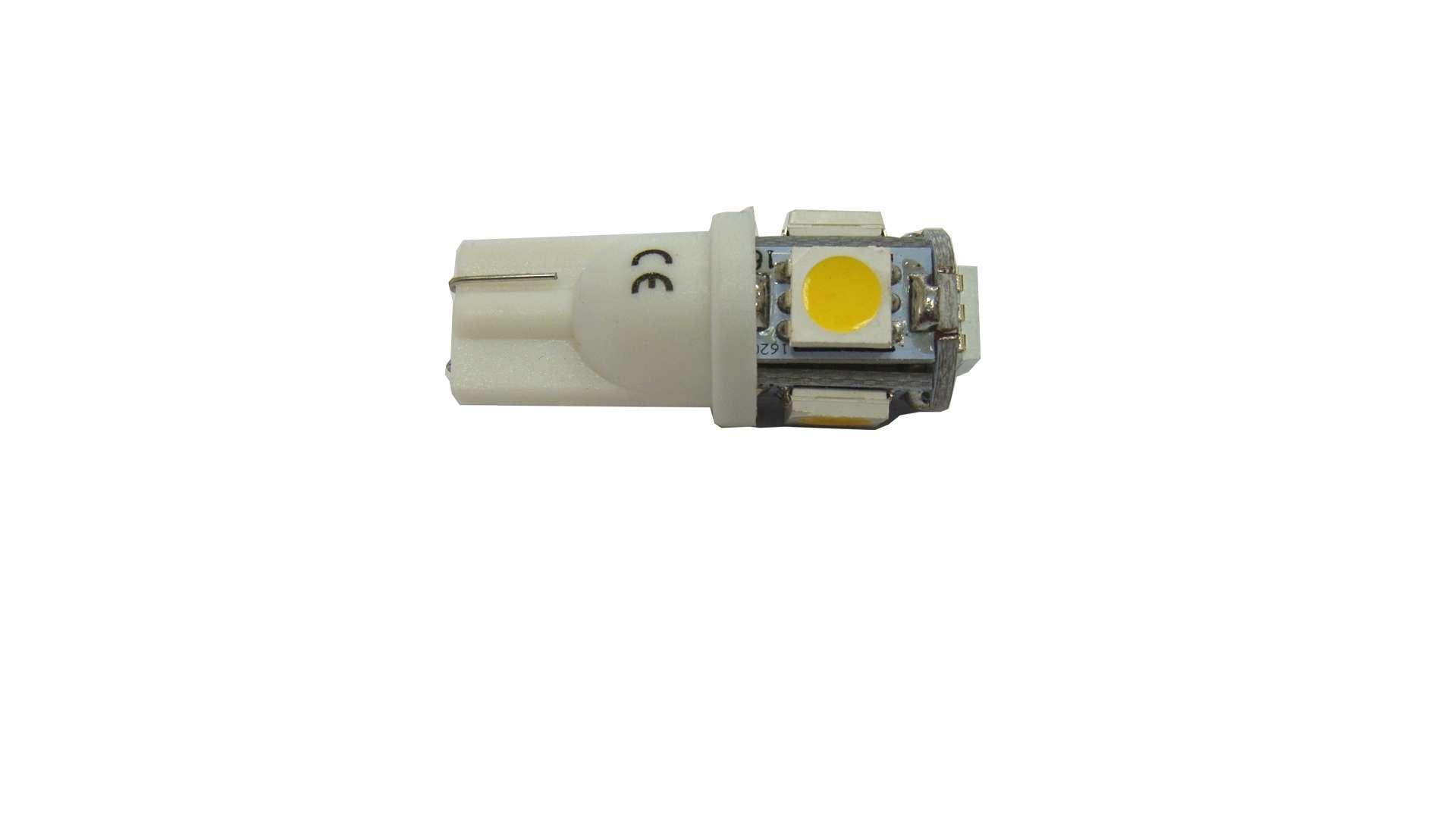 Dioda LED W5W 5x5050 SMD 12V DC B. Ciepła