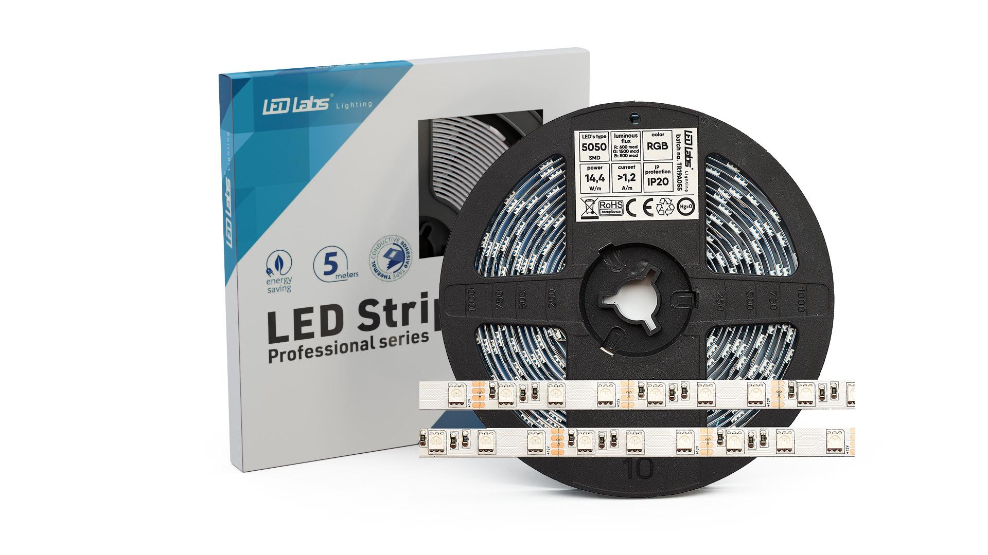 Taśma PRO 3Y 12V 300 LED 5050 SMD 14.4W RGB IP65HS