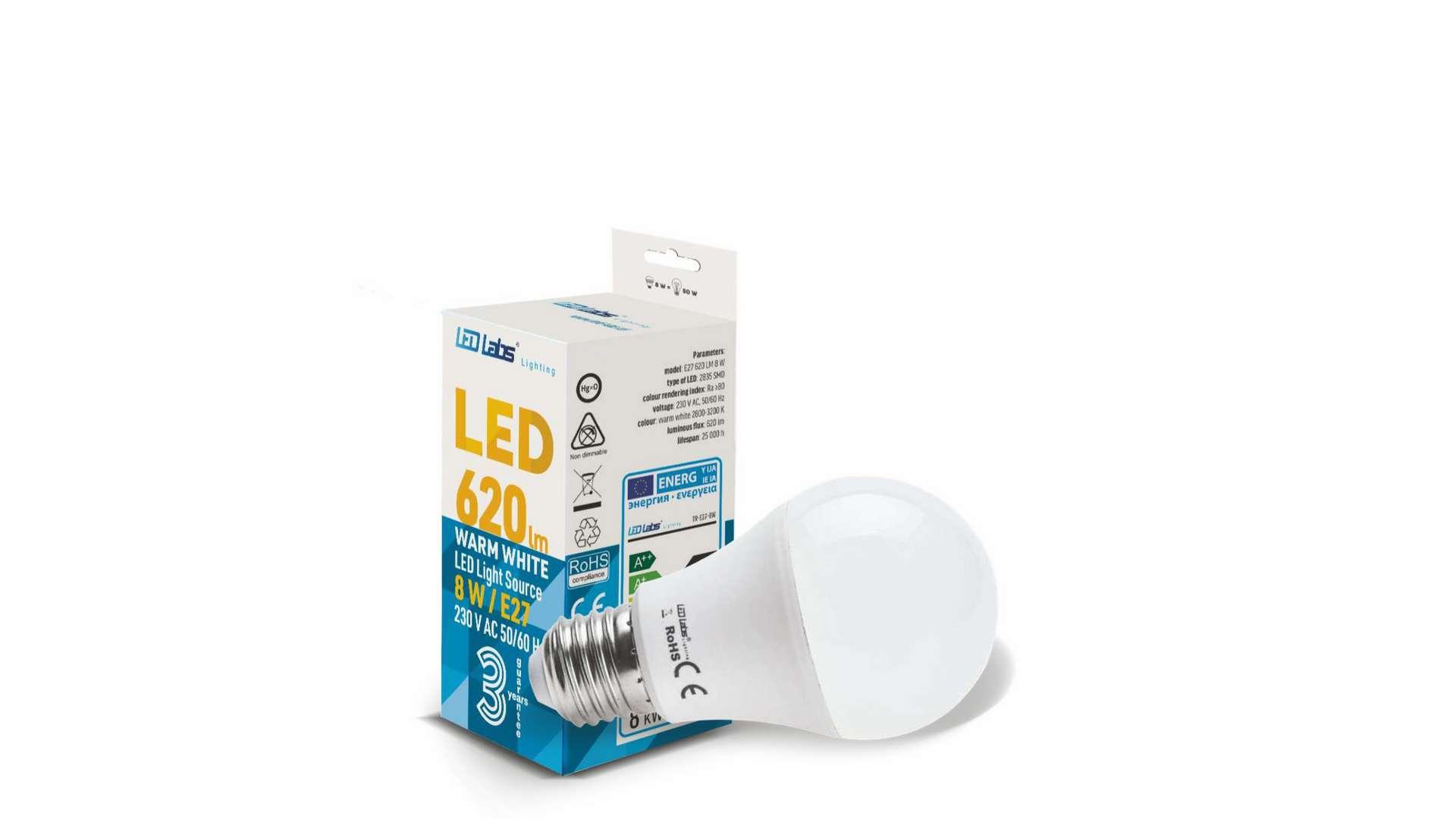 Źródło LED E27 8W A60 Biała Ciepła