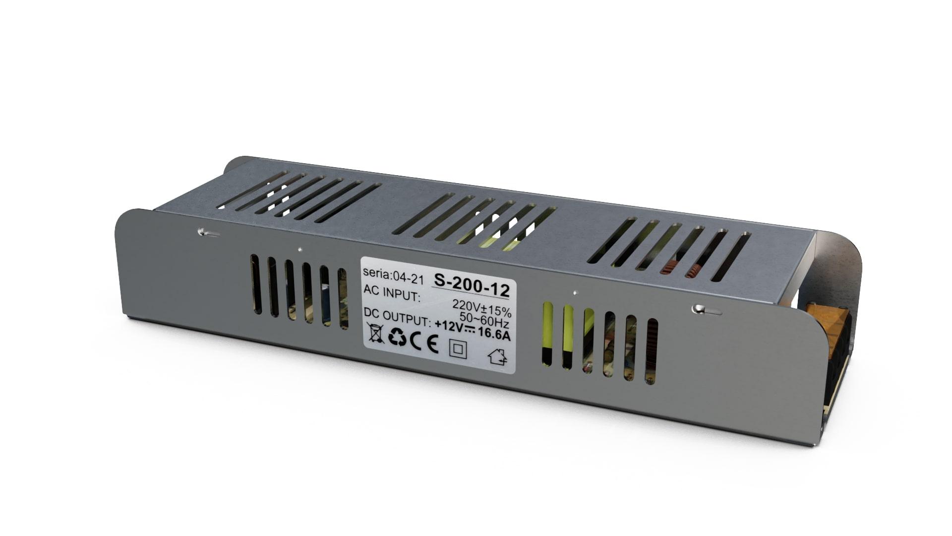 Moduł zasilacza montażowy 12V 200W IP20 SLIM