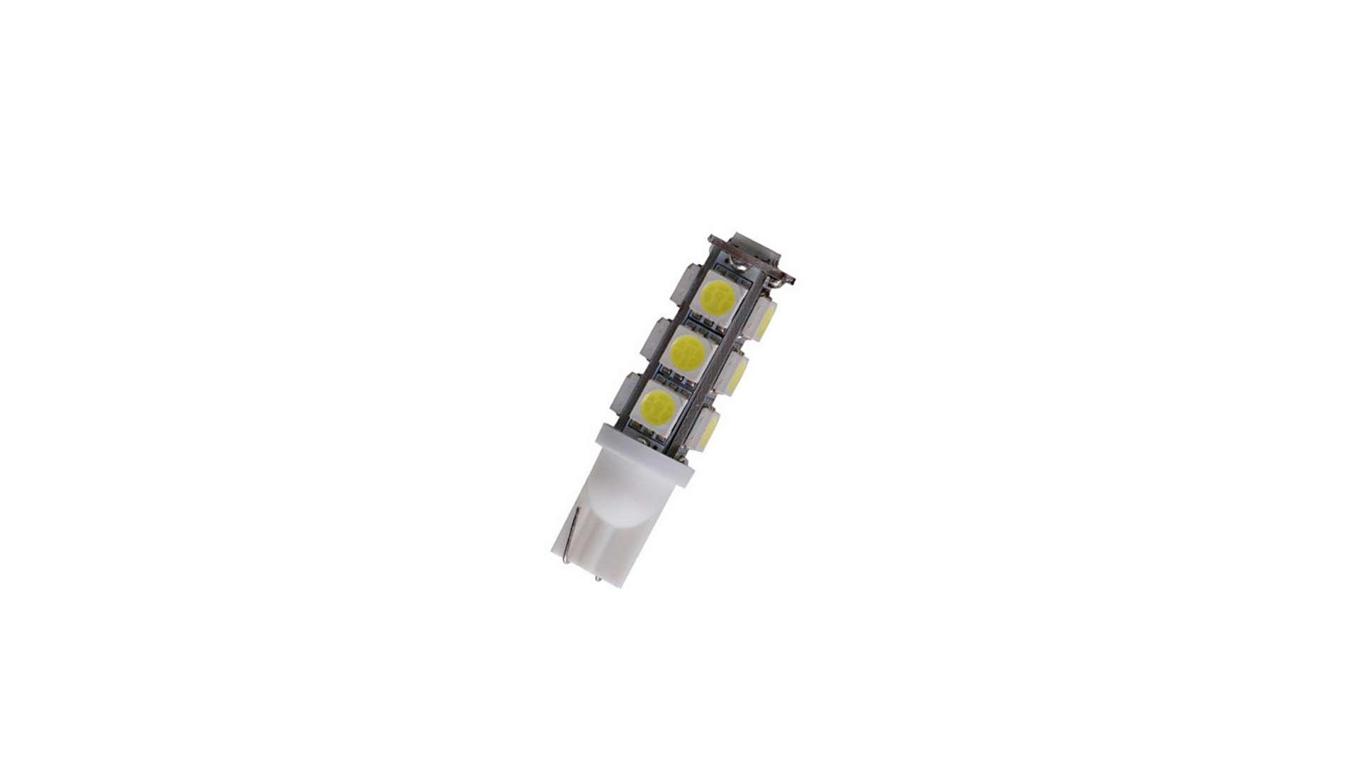Dioda LED W5W 13x5050 SMD 12V DC Biała Zimna