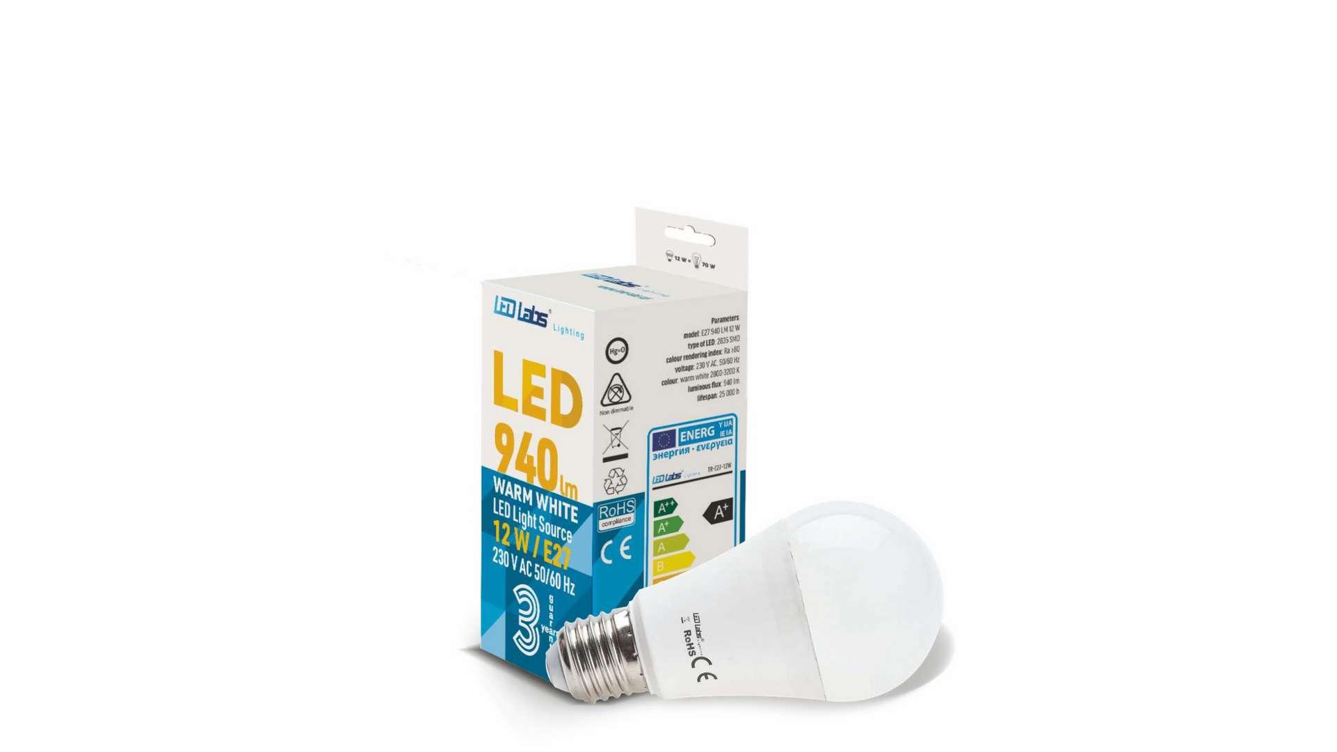 Źródło LED E27 12W A60 Biała Ciepła
