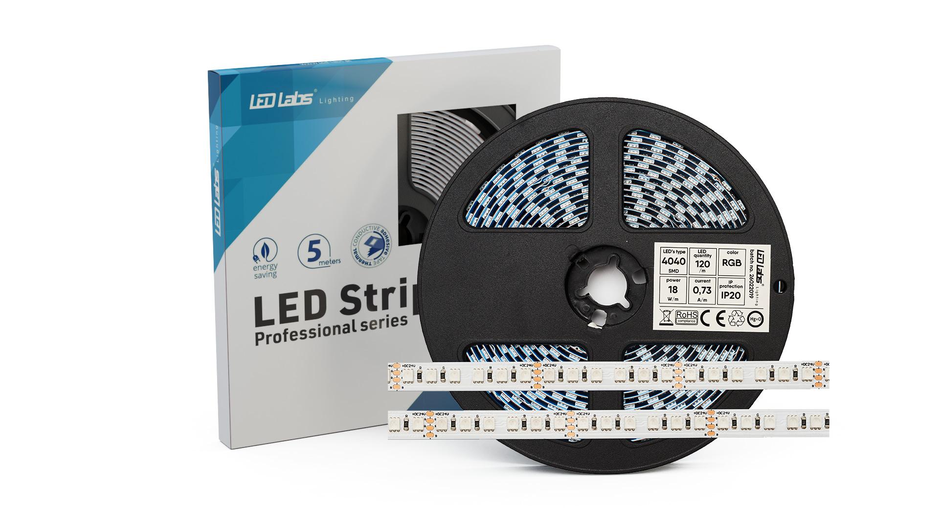 Taśma PRO 3Y 24V 600 LED 4040 SMD 18W RGB