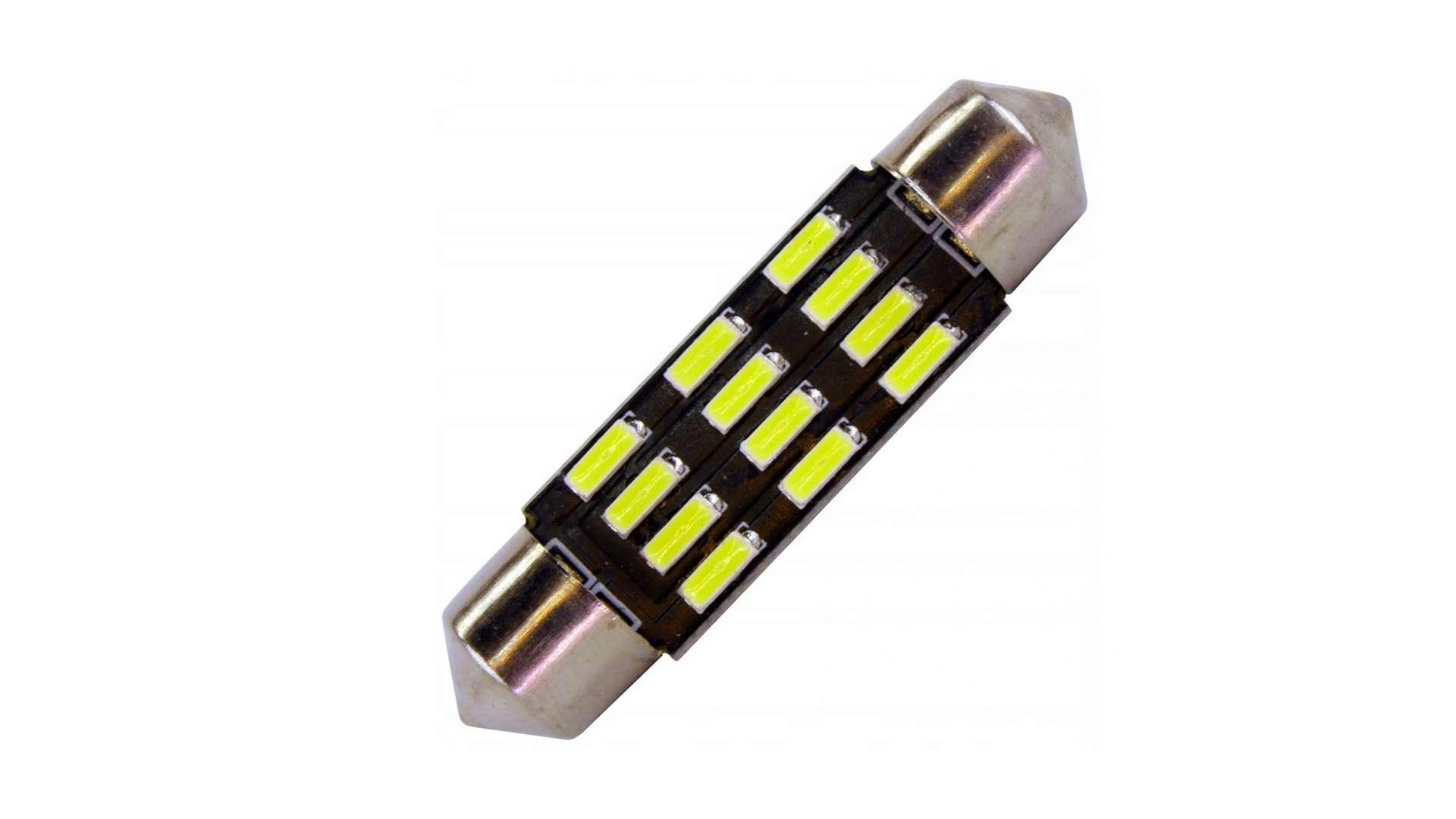 Dioda LED C5W 12x4014 SMD 42 mm B. Zimna