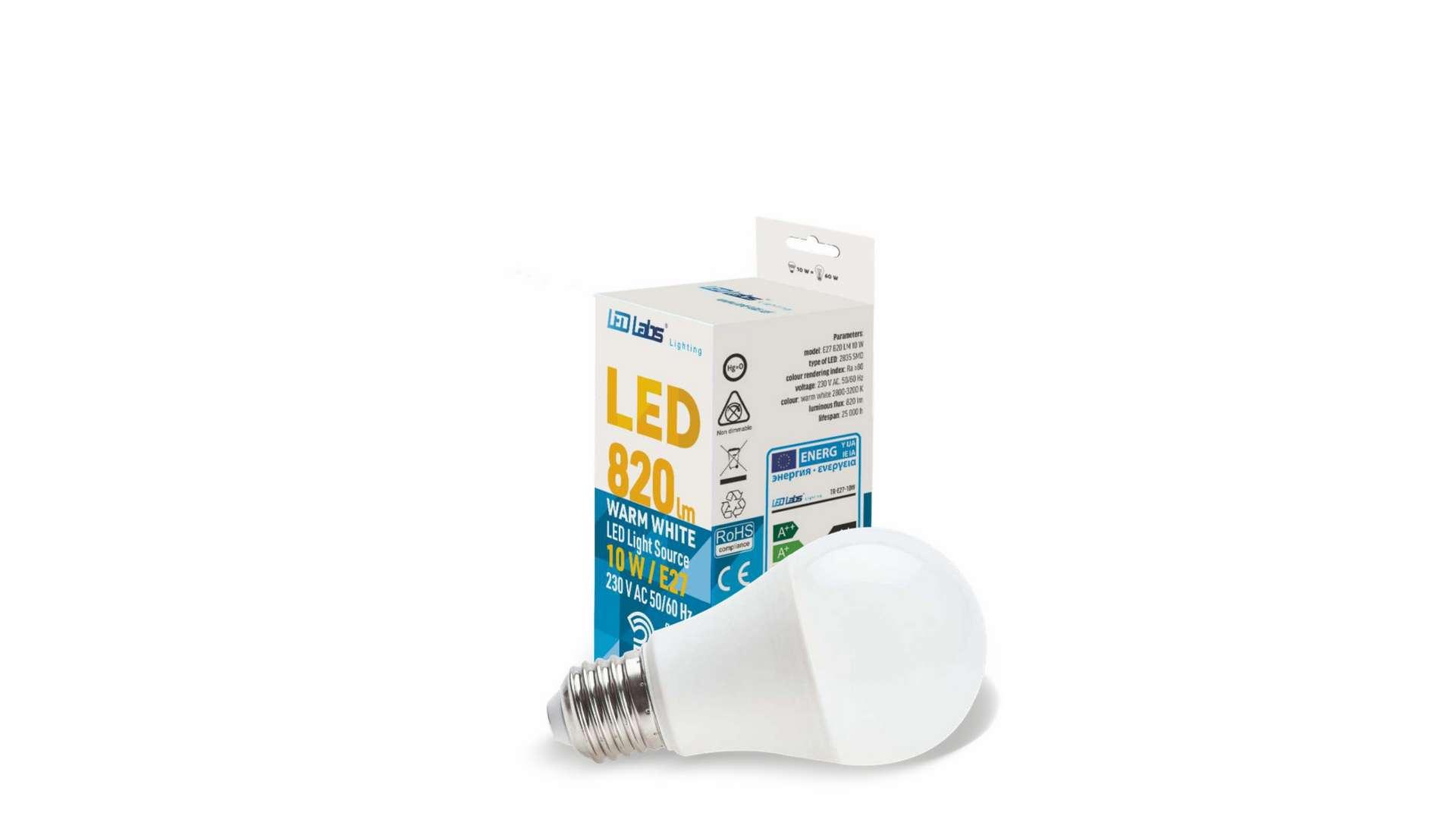 Źródło LED E27 10W A60 Biała Ciepła